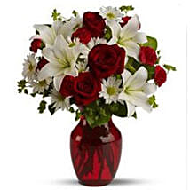 White Lilies With Roses: Send Flowers to Canada