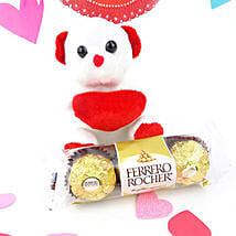 White Teddy N Chocolate Combo: Chocolate Gift Baskets in Canada