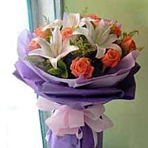 Rose Lily bouquet CIN: Send Gifts to China