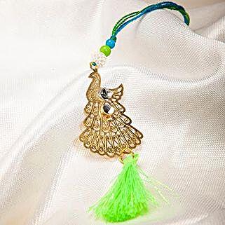 Attractive Metallic Peacock Lumba Rakhi: Rakhi Delivery in Colombia