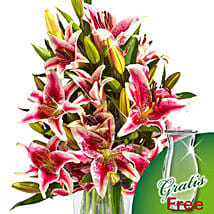 10 pink Stargazer Lilies in a bunch: Send Birthday Gifts to Munich