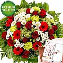 Blutenpracht With Premium Vase and Merci: Send Roses to Germany