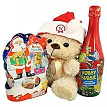Christmas Kinder Teddy with Kids Champagne: Send Gift Baskets to Germany