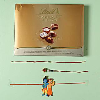 Family Rakhi set with Lindt Finest Swiss Chocolates: Rakhi and Chocolates to Germany