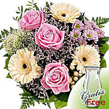 Flower Bouquet Ballade with vase: Love and Romance Gifts to Germany