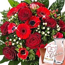 Flower Bouquet Grobe Liebe With Vase and Merci: Rose Delivery in Germany