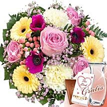 Flower Bouquet Liebesbrief With Vase and Merci: Love and Romance Gifts to Germany