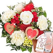 Flower Bouquet Scarlett With Vase and Merci: Love and Romance Gifts to Germany