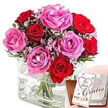 Rose Ensemble I Love You With Vase and Merci: Love and Romance Gifts to Germany