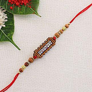 Diamond on Wooden Thread: Send Rakhi to Greece
