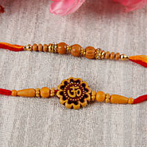 Sandalwoond Aum Rakhi Set: Send Rakhi to Hungary