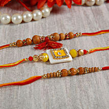 Yellow Stone Sandalwood Rakhi Set: Rakhi Gifts to Hungary