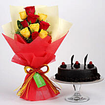 Red Yellow Roses With Truffle Cake: Birthday Cakes to Indonesia