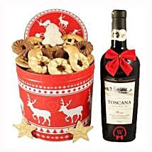 Christmas Tin Box With Red Tuscan: Send Gifts to Ireland
