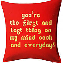 Red Printed Cushion With Love Quote: Gift Delivery in Kuwait