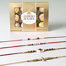 Set Of 4 Rakhis And Rocher Combo: Rakhi to Brother in Kuwait
