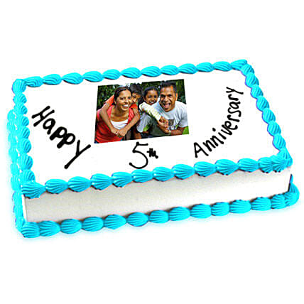 5th Anniversary Photo Cake Eggless 2kg by FNP
