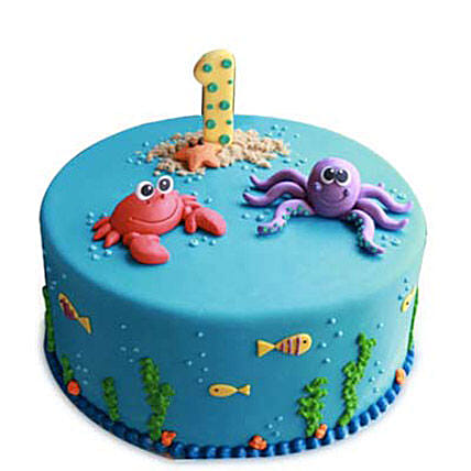 Baby Sea Animals Cake 3kg Eggless Chocolate