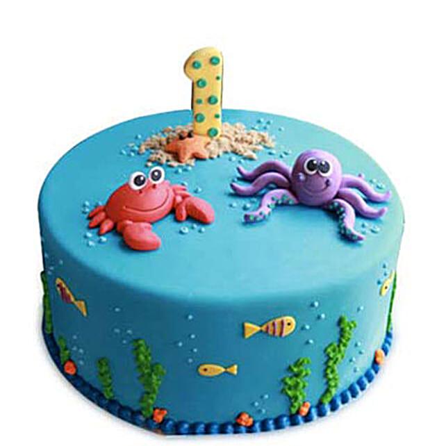 Baby Sea Animals Cake 4kg Eggless Pineapple