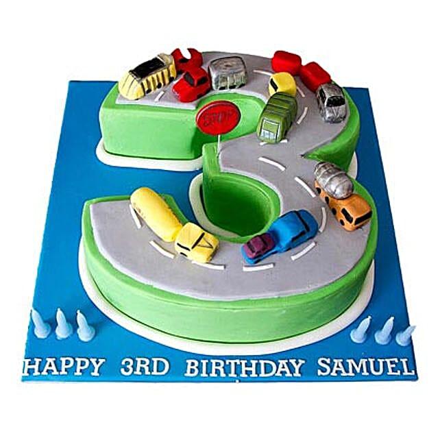 Cars Birthday Cake 3kg Eggless Pineapple
