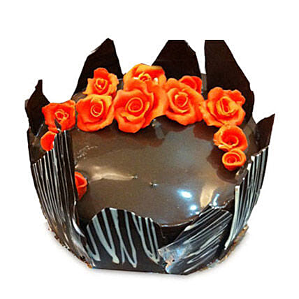 Chocolate Cake With Red Flowers 2kg
