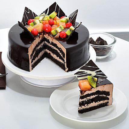 Chocolate Fruit Gateau 1kg Eggless