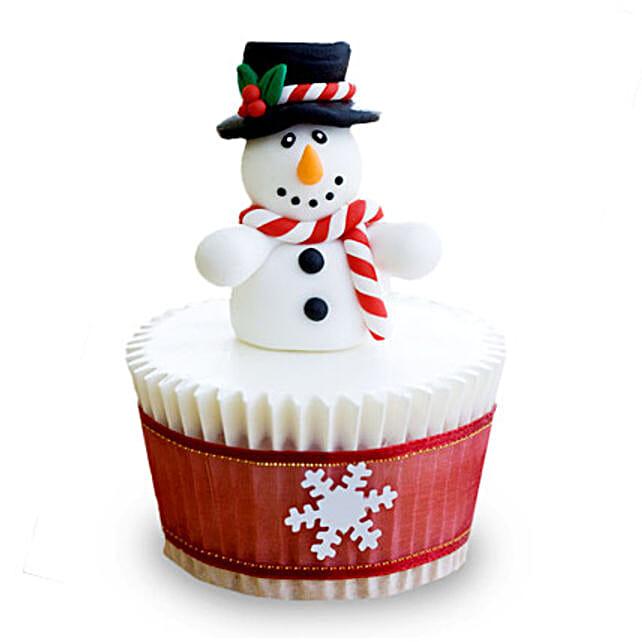 Christmas Snowman Cupcakes 6 Eggless