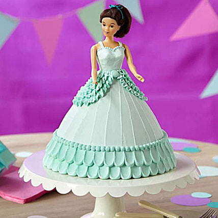 Cool Blue Barbie Cake Vanilla 3kg Eggless