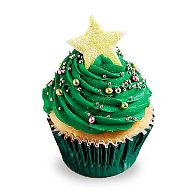 Decorative Christmas Tree Cupcakes 12 Eggless