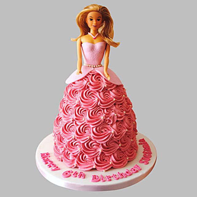 Flamboyant Barbie Cake Vanilla 2kg Eggless