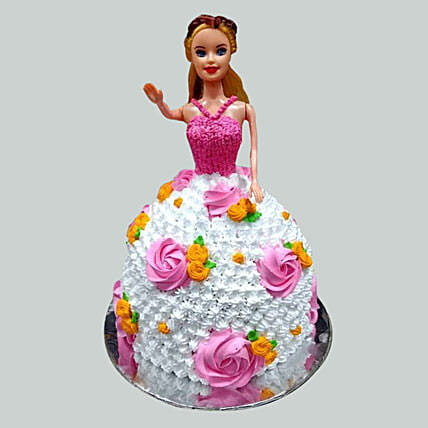 Floral Barbie Cake Pineapple 3kg Eggless
