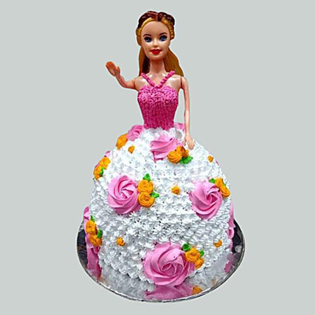 Floral Barbie Cake Vanilla 3kg Eggless