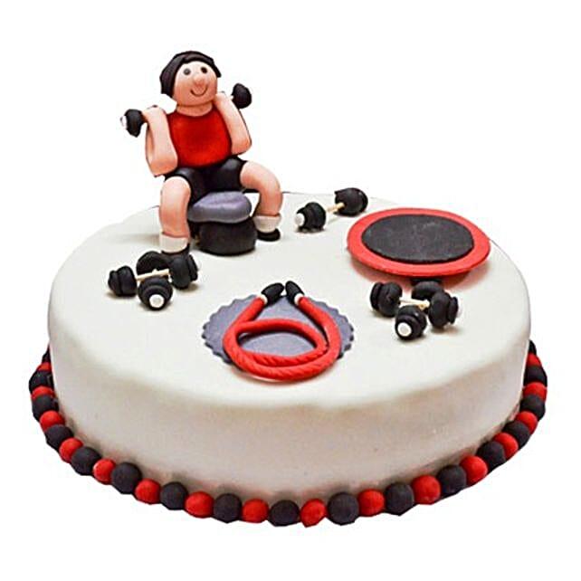 Gym Fondant Cake 4kg Vanilla Eggless