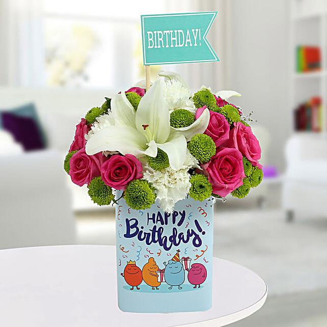 Happy Birthday Mixed Flowers Arrangement