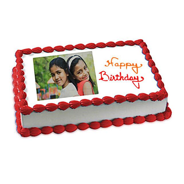 Happy Birthday Photo Cake 2kg Eggless Vanilla