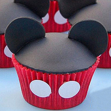 Mickey Mouse Mania Cupcakes 24 Eggless