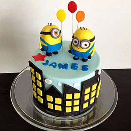Minions with balloons 4kg Chocolate Eggless