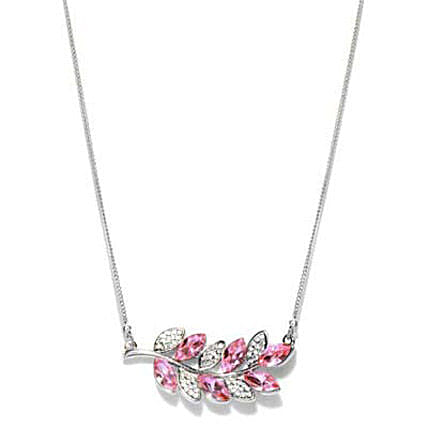 Pink and Silver Toned Olive Branch Charm Necklace