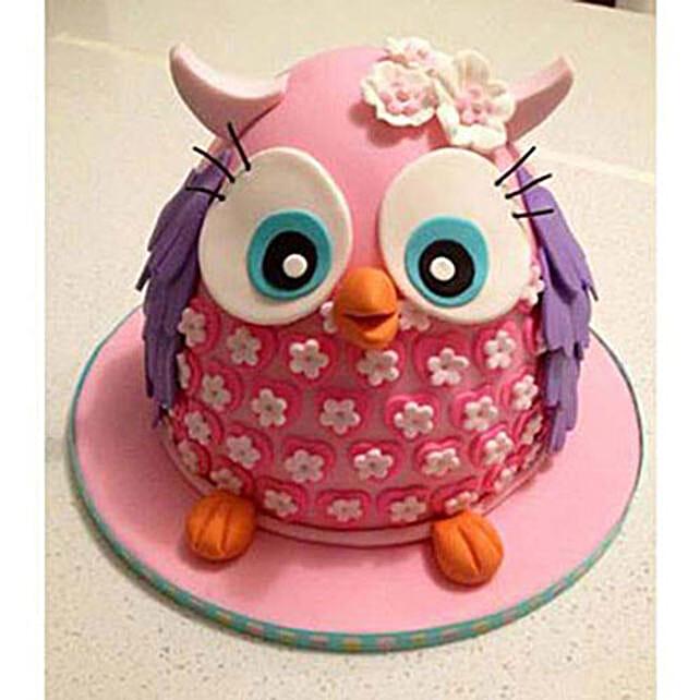 Pinki The Owl Cake 3kg Chocolate Eggless