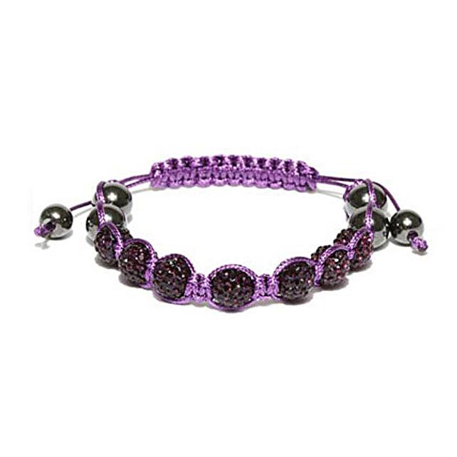 Purple Beaded Macrame Bracelet