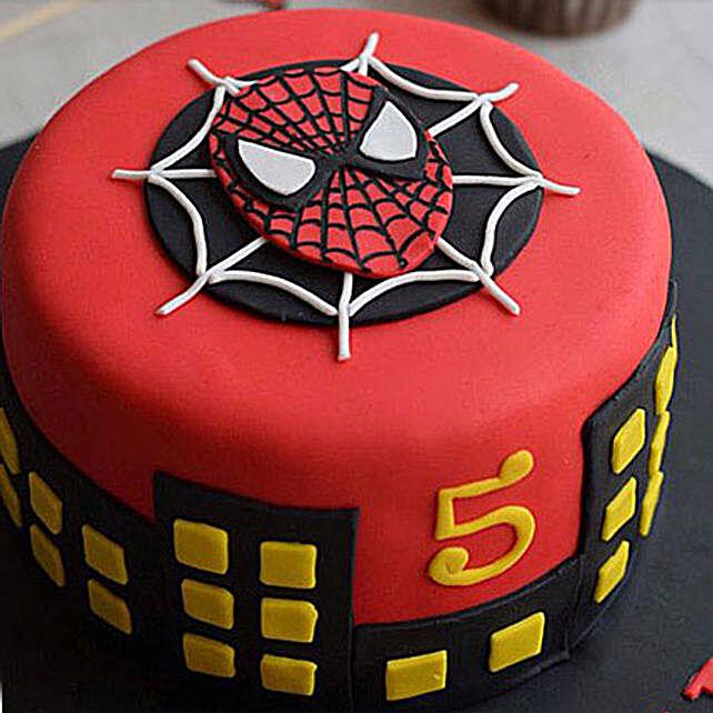Round Fondant Spiderman Cake 1kg Vanilla