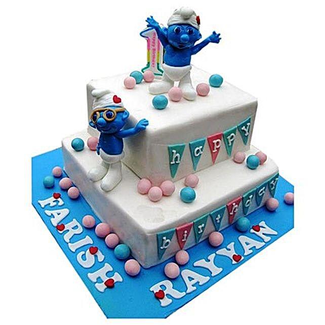 Smurfs Birthday Cake 4kg Eggless