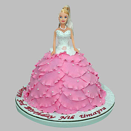 White N Pink Barbie Cake 3kg Eggless