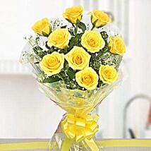 10 Bright Yellow Roses Bouquet: Send Flowers to Aligarh