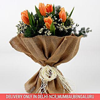10 Imported Peach Tulips 2 Limoniums Premium Bouquet: