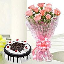 10 Pink Roses And Black Forest Cake: Flowers & Cake Combos
