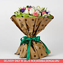10 White Roses 6 Pink Carnations Mixed Bouquet: New Arrival Flowers