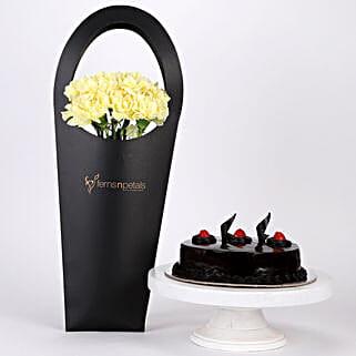 10 Yellow Carnations & Truffle Cake Combo: