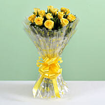12 Delightful Yellow Roses Bouquet: Send Flowers to Yamuna Nagar