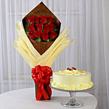 12 Red Roses Bouquet & Butterscotch Cake: Flowers & Cake Combos